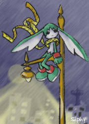 King of sorrow on a lampost by Silphy