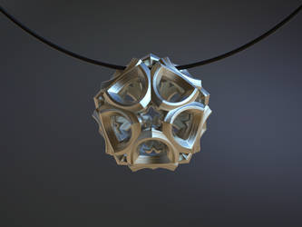 Fractal Pendant 3D Printed 20mm by nic022