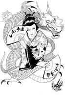 Geisha and Dragon by caiojhonson