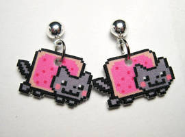 Nyan Cat Stud Dangle Earrings by JennyLovesKawaii