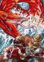 Thor vs Jormungand - Mel Uran by Pernastudios