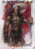 Dark Elf Sketch Card - BARD! by Pernastudios