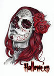 Day of the Dead Art (Red) - Sean Pence by Pernastudios