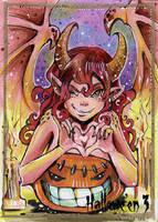 Hallowe'en 3 Sketch Card - Helga Wojik 3 by Pernastudios