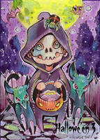 Hallowe'en 3 Sketch Card - Helga Wojik 2 by Pernastudios