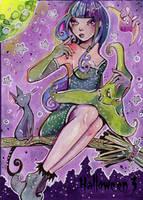Hallowe'en 3 Sketch Card - Helga Wojik 1 by Pernastudios