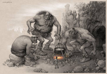 Giants from Serbian fairy tale Bash Tcelik by Boban-Savic-Geto