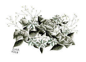Grey Flowers - Pencil Drawing by Hika-Yagami
