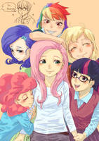 Mane6 are all over Fluttershy by Yanamosuda