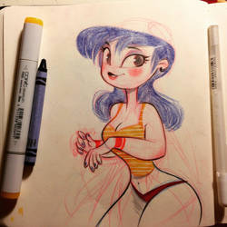 Girl sketch and crayon hair 2 by gadeaster