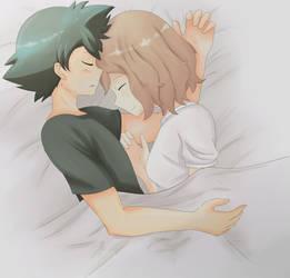 Amourshipping - sleeping together (Speedpaint) by hikary-starrysky