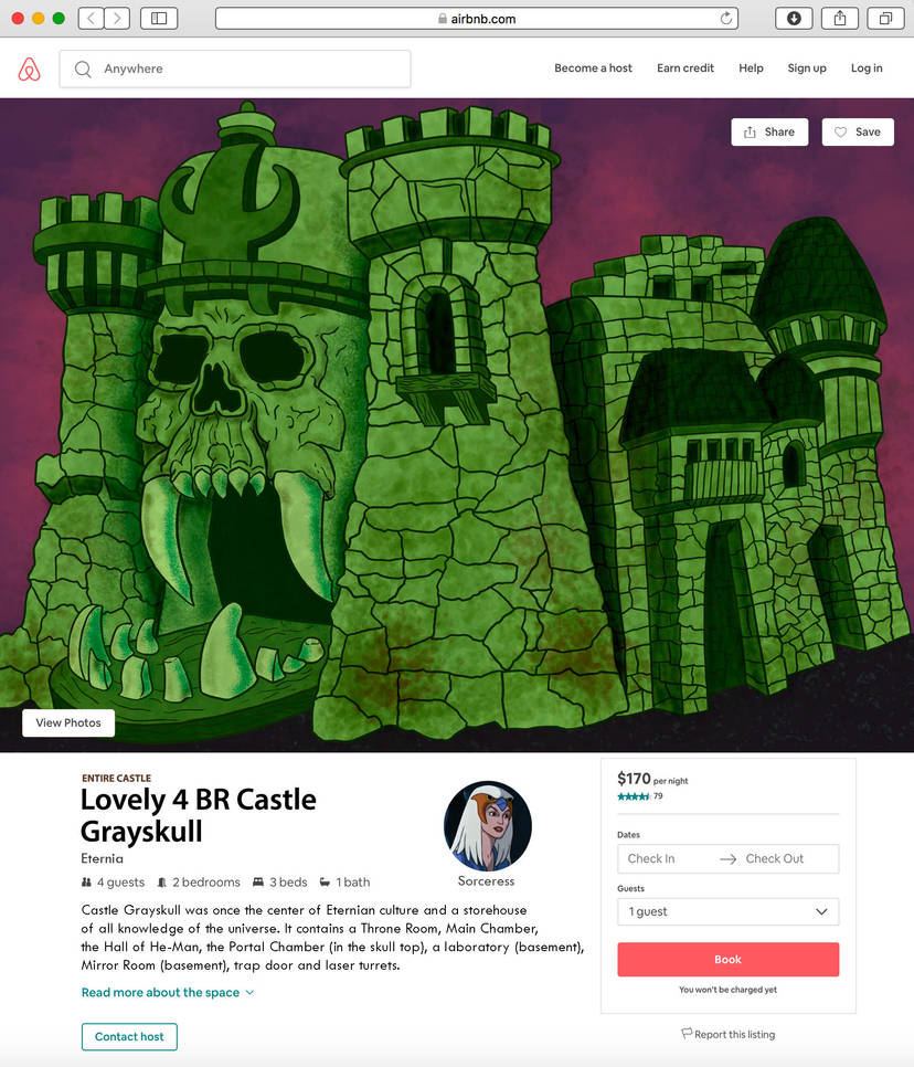 Castle Grayskull Airbnb print by maxevry
