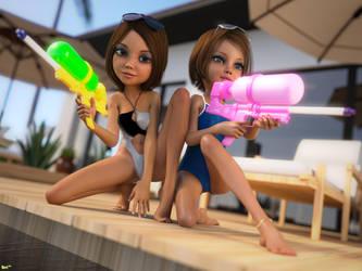 Poolside Superheroes by Navi-nc
