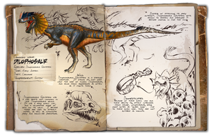 Ark: Survival Evolved Dossiers: Dilophosaur by DJDinoJosh