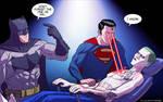 Batman And Superman Take On The Joker by drawerofdrawings
