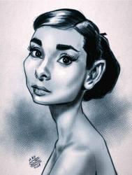 Audrey Hepburn by drawerofdrawings