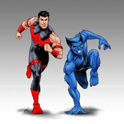 Wonder Man and Beast by drawerofdrawings