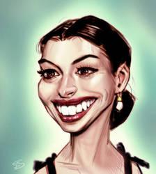 Anne Hathaway by drawerofdrawings