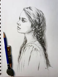 Drawing of a girl with braid in graphite by leversandpulleys