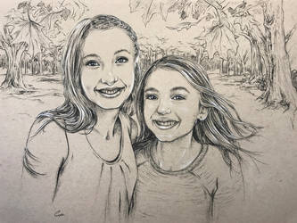 Portrait of two sisters in charcoal on toned paper by leversandpulleys