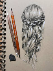 Small drawing of braided hair by leversandpulleys