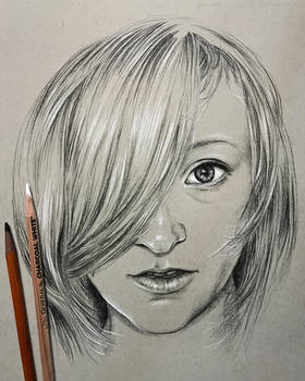 Portrait in charcoal pencil on toned paper by leversandpulleys