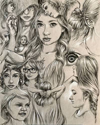 Page of sketchy stuff in charcoal pencil and white by leversandpulleys