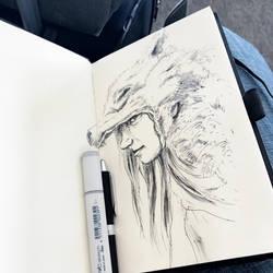 Wolf girl, airport terminal sketch by leversandpulleys