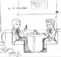 Dean And Castiel at IHOP by forbiddenrevel