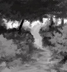 Forest Path greyscale by Thesis-D