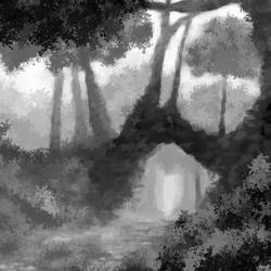 Forest Path 2 (greyscale) by Thesis-D