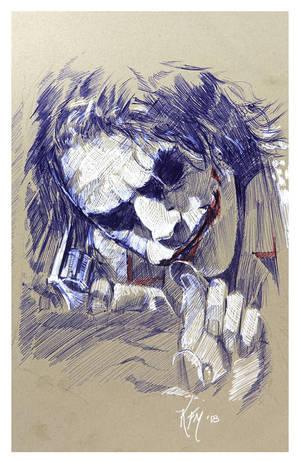 Joker  - Pen Drawing by kevinsbrush