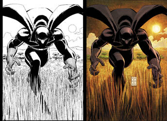 Black Panther 1 BW to Color by DeanWhite