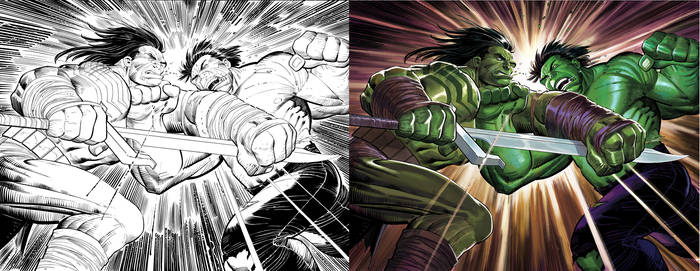 Hulk 611 cover  BW to Color by DeanWhite
