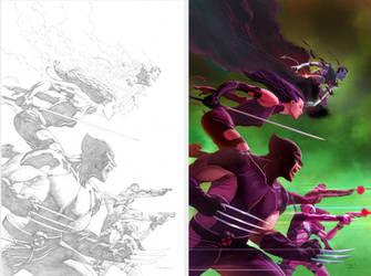 uncannyX-Force25cvr-BW-color by DeanWhite