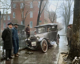 Auto Wreck in Washington DC, 1921 by Mygrapefruit