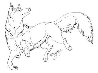 freeLineart: first Wolf by Mwjan