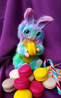 Rabbit soft toy made of polymer clay, rainbow rab by MelvonAndReine