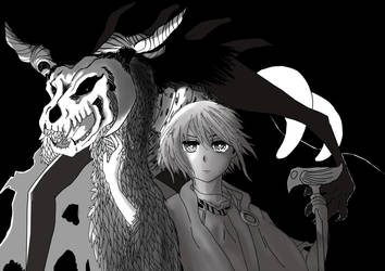 Mahou Tsukai no Yome Chise and Elias Monochrome by Gynekotaku