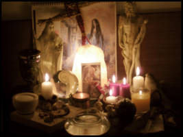 Imbolc Altar 2010 by ReanDeanna