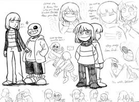 Doodles of Frisk, Sans, and Chara by Triangle-cat