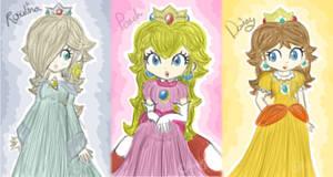 the 3 sketchy princesses by Peach-X-Yoshi