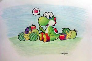 Yoshi and his fruit by Peach-X-Yoshi