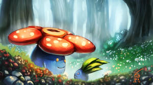 vileplume and oddish by 000SanS000