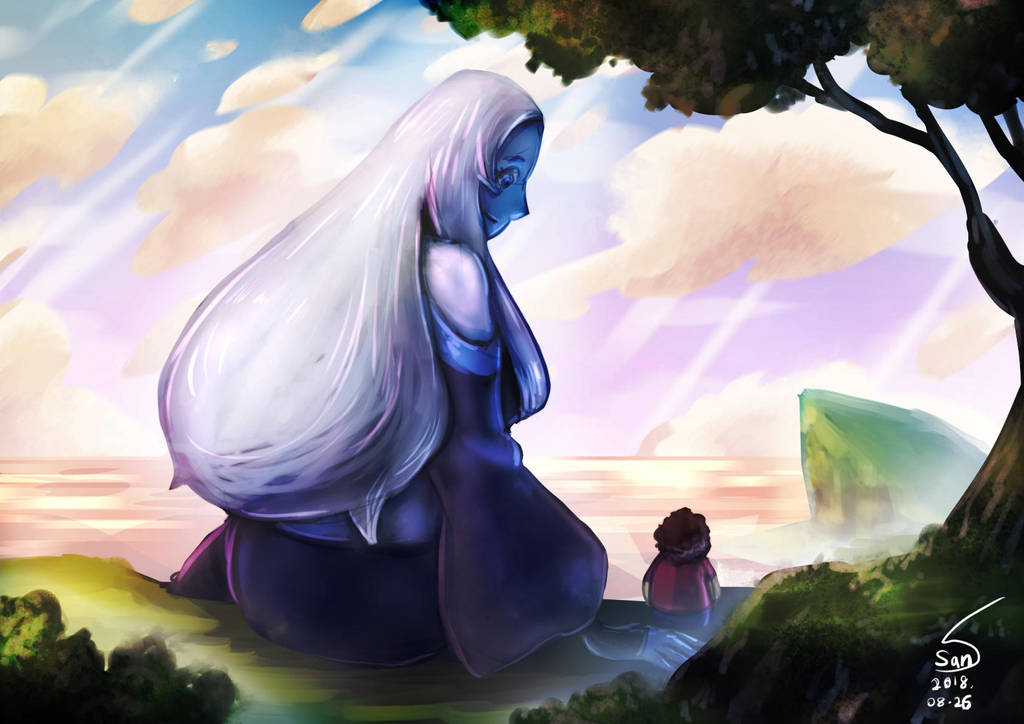 after story: steven stay on earth and blue often left homeworld for earth as she wants to spend as much time possible with pink