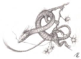 Oriental Garden Dragon (Sketch) by TGHarrison