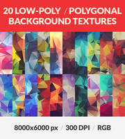 20 Polygonal Low Poly Background HQ Textures by RoundedHexagon