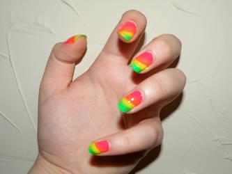 Rainbow Nails by inkyglow