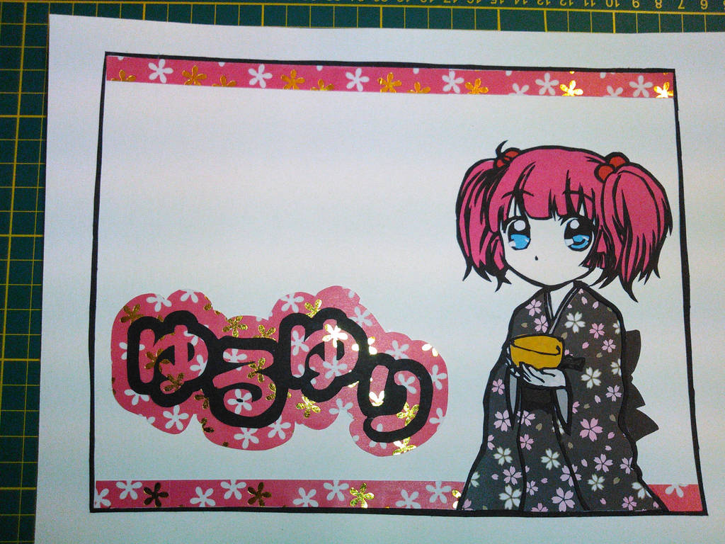 Chinatsu (Yuru Yuri) papercut by JohnMoogle