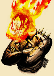 Johnny Blaze Smiling Coloured by DarroldHansen